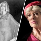 Det ikoniske billede af Suzanne Brøgger som haremspige i Christianias opførelse af 'Ali Baba' i 1978. Billedet til venstre viser Brøgger sidste år.