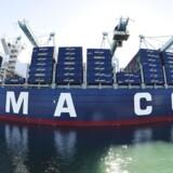 Den franske rederivirksomhed CMA CGM planlægger efter sigende at købe nye containerskibe med kapacitet på 20.000 tyvefodscontainere, teu. Arkivfoto.