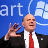 Microsofts topchef, Steve Ballmer, vil tirsdag eftermiddag i Paris præsentere den nye Windows Mobile-udgave. Foto: AFP/Scanpix
