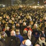 Mange mennesker deltager i mindehøjtideligheden på Østerbro mandag d. 16 februar 2015. (Foto: Mathias Bojesen/Scanpix 2015)
