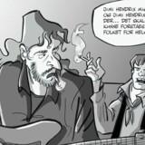 Udsnit af Thierry Capezzone og Simon Petersens tegneserie om Kim Larsen, der udkommer i næste måned.
