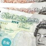 Britiske banker er betydeligt længere fra at nå det indtjeningsniveau, de havde inden krisen, end deres europæiske branchefæller, og det vil de sandsynligvis fortsat være gennem længere tid. Arkivfoto: Britiske pund.