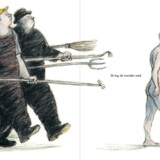 Billedet er fra Armin Greders »Manden på Øen«, hvor tegningerne er i sorte og brun-røde nuancer, med en smuk, blød grafisk streg. Både »Manden på Øen« og Peter Adolphsens og Maria Buchmanns »Blommeægget« er fænomenale.