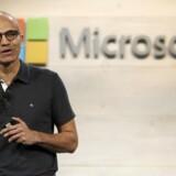 It-giganten Microsoft lå generelt på linje med forventningerne i regnskabsrets andet kvartal, svarende til kalenderårets fjerde. På billedet ses Microsofts CEO, Satya Nadella .