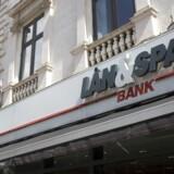 Lån og Spar bankens logo i Ryesgade