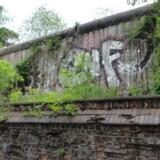Det eneste stykke mur, som stadig står på sin oprindelige plads.