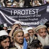 Billedet her er fra en demonstration mod tegningerne i Peshawar, Pakistan, 16. januar.