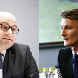 Justitsminister Søren Pape Poulsen (t.v., K) er i morgen kaldt i samråd om en EU-dom, der står til at begrænse den danske telelogning. Peter Kofod Poulsen (t.h., DF) opfordrer Pape til at blæse på dommen.