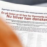 """Én af personerne på listen Dansk Folkeparti, der var en del af en dagbladsannonce fra partiet i 2013, havde været overvåget af PET for """"bekymrende og mistænkelig"""" adfærd. Personen blev hverken sigtet, tiltalt eller dømt."""