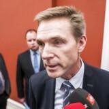 Kristian Thulesen Dahl, Martin Henriksen og Christian Langballe (DF) ankommer til forhandlinger i Statsministeriet.