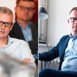 »De gange, hvor man havde nazistisk trykkeri i Kollund eller Kværs, var der da også oprør og opstand, og man snakkede om, hvad man kunne gøre ved det,« siger Venstres Carl Holst (til højre) efter kritik fra Flemming Rose (til højre) af, at regeringen begrænser friheden i kampen mod islamisme.