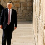 U.S. President Donald Trump stands after leaving a note at the Western Wall in Jerusalem May 22, 2017. REUTERS/Jonathan Ernst