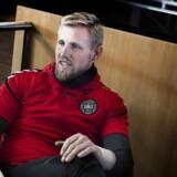 Kasper Schmeichel ved det danske fodboldlandsholds pressemøde på Hotel Clarion mandag den 20 marts 2018