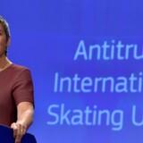 Konkurrencekommissær Margrethe Vestager præsenterede fredag en afgørelse, der sikrer speedskatere bedre kommercielle rettigheder, end reglerne hos Den Internationale Speedskating Union giver dem. Reuters/Eric Vidal