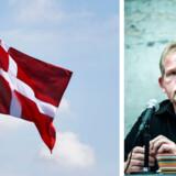 Christian Juhl understreger, at han ikke har noget imod Dannebrog som sådan, men at hængt op bag Pia Kjærsgaard er det en utidig demonstration af danskhed. Fotos: Linda Kastrup og Christian Liliendahl