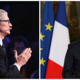 Apple-topchef Tim Cook (til venstre) mødtes mandag med Frankrigs præsident, Emmanuel Macron, som står i spidsen for kampen for at få de internationale giganter til at afregne skat i de lande, hvor de tjener pengene. Arkivfoto: John Moore, Getty Images/AFP/Scanpix og Ludovic Marin, Reuters/Scanpix