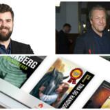 Mofibo-bagmand Morten Strunge (øverst til venstre) køber nu forlaget People's Press, som Jakob Kvist (til højre) har gjort landskendt, for at udvide sortimentet af lyd- og e-bøger med masser af populære forfattere. Fotos: Scanpix og Mofibo.