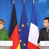 Merkel og Macron til fælles pressemøde. AFP PHOTO / Ludovic MARIN