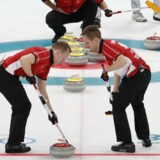 De danske curlingherrer slog Sydkorea og hentede en vigtig OL-sejr. Reuters/Cathal Mcnaughton