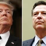Donald Trump erkender nu, at det var efterforskningen af Russiagate, som fik ham til at fyre FBI-chef James Comey (th.). Og de ord er en invitation til en rigsgretssag for »obstruction of justice.«