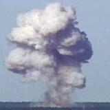 USAs største konventionelle bombe GBU-43/B, også kendt som Massive Ordnance Air Blast, blev torsdag brugt mod IS i Afghanistan. Billedet her er fra en prøvesprængning med bomben nær Elgin Air Force Base i Florida i 2003.
