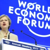 Den britiske premierminister, Theresa May, talte torsdag på World Economic Forum i Davos, Schweiz. Foto: Laurant Gillieron / EPA