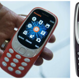 Den nye relancerede model af Nokia 3310 og den første version fra 2000.