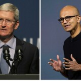 TV. Apples topchef, Tim Cook fotograf: Robert Galbraith. TH. Satya Nadella, Microsofts topchef. Fotograf: Andrew Burton/Getty