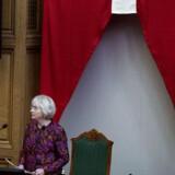 En af de største fortalere for et permanent dannebrogsflag er partifælle og tidligere DF-formand Pia Kjærsgaard.
