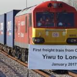 Efter tre ugers rejse gennem ni lande ankommer det første godstog nogensinde fra Storbritannien til Kina. Scanpix/Niklas Halle''n