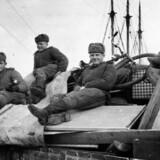 Russere på Rønne havn i forbindelse med den russiske besættelse af Bornholm. Russerne blev de nye besættere i et år fra maj 1945-46. Arkivfoto