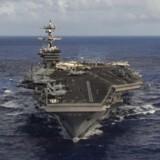 Et af de flådefartøjer, der er blevet sendt til den koreanske halvø, er hangarskibet USS Carl Vinson (arkivfoto). Reuters/Handout