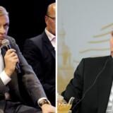 »Jeg støtter Putin,« siger Oleg Tinkov (tv), der gerne ser, at Putin skal have 33 præsidentperioder mere. Foto: Nils Meilvang (Tinkov) og ALEXEI DRUZHININ / SPUTNIK / KREMLIN POOL (Putin)