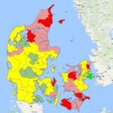 Klik dig rundt på danmarkskortet for at se, hvor meget din kommune har opsparet. Screenshot fra Google Maps.