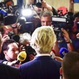 Den EU- og indvandringskritiske Geert Wilders erkendte efter det hollandske valg, at det kunne være gået bedre, men han var trods alt tilfreds med, at Frihedspartiet gik frem, selv om fremgangen var mindre end ventet. EPA/ROBIN UTRECHT