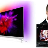 LG har indtil nu sat sig på markedet for OLED-TV, men nu kommer de andre producenter med. Det er nemlig nemmere at sælge de dyrere TV, fordi folk kan se en tydelig forskel på skærmkvaliteten, siger Henrik Kyhl, nordisk direktør for TP Vision (øverst til højre), der står for Philips-TV, som også selv udvider på fronten. Fotos: TP Vision og Alex Wong, Getty Images/Scanpix