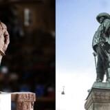Christian IV-statuen til venstre er den nye, den til højre har i over 100 år stået ved Nyboder.