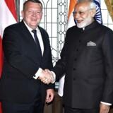 Lars Løkke Rasmussen er enig med Indiens premierminister om at genstarte den dansk-indiske fælleskommission. TT News Agency/Claudio Bresciani via REUTERS