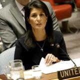 USAs FN-ambassadør, Nikki Haley, i sikkerhedsrådet mandag. Foto: Peter Foley/EPA