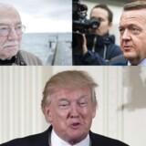 En ting er at mene noget om Trump, men at skærpe tonen over for USAs præsident ville være »idiotisk«, mener Uffe Ellemann-Jensen. Foto: Søren Bidstrup, Ólafur Steinar Gestsson og EPA/Shawn Thew