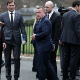 Lars Løkke Rasmussen forlader det Hvide Hus, efter sit møde med Præsident Donald Trump.