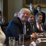 Den amerikanske præsident Donald Trump under et møde med lastbilschauffører og lastbilschaufførernes interesseorganisation om sundhedsplanen torsdag.