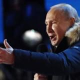 Ruslands præsident Vladimir Putin taler ved en markering af fireårs-dagen for den russiske annektering af krim.