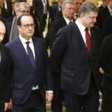 Sådan så det ud, de de fire regeringschefer fra Rusland, Frankrig, Ukraine og Tyskland mødtes onsdag i Hvideruslands hovedstad, Minsk.
