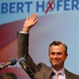 44-årige Norbert Hofer fra det højrepopulistiske Frihedsparti (FPÖ) har støtte fra omkring 25 pct.af de østrigske vælgere op til præsidentvalget søndag. Foto: Leonhard Foeger
