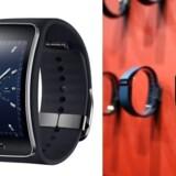 Samsungs nye Gear S-ur og Fitbits armbånd, som begge måler bærerens helbred. Foto: Samsung og Justy Sullivan, Getty/AFP/Scanpix
