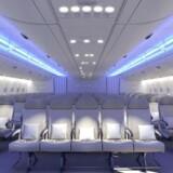 Den nye kabineopsætning giver mulighed for 11 sæder på tværs. Det er så mange, at vores billedformat end ikke kan vise dem alle her. PR-foto fra Airbus.