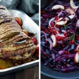 Nanna Simonsens flæskesteg med kvæder, svesker, brune kartofler og sauteret rødkål til.