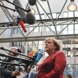 Den tyske forbundskansler, Angela Merkel, er i centrum på EU-topmødet i Bruxelles efter afsløringerne af, at hendes personlige mobiltelefon er blevet aflyttet af den skandaleramte, amerikanske efterretningstjeneste NSA. Foto: Georges Gobet, AFP/Scanpix