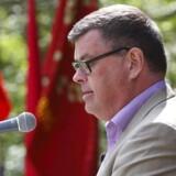 --Arbejderbevægelsens internationale kampdag fejres. Mogens Jensen, Socialdemokratisk kultur- og medieordfører holder 1. maj tale i Laugsens Have i Videbæk. (Foto: Jørgen Kirk/Scanpix 2011)